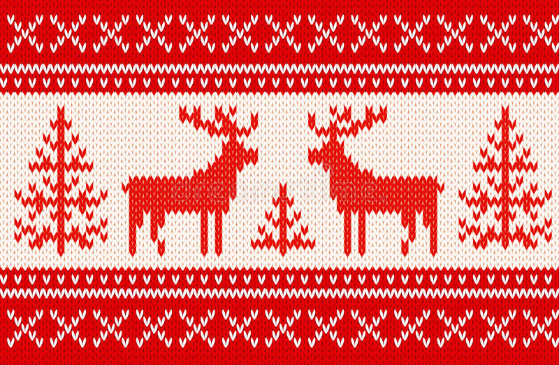 Teste padrão de confecção de malhas sem emenda com cervos ilustração stock