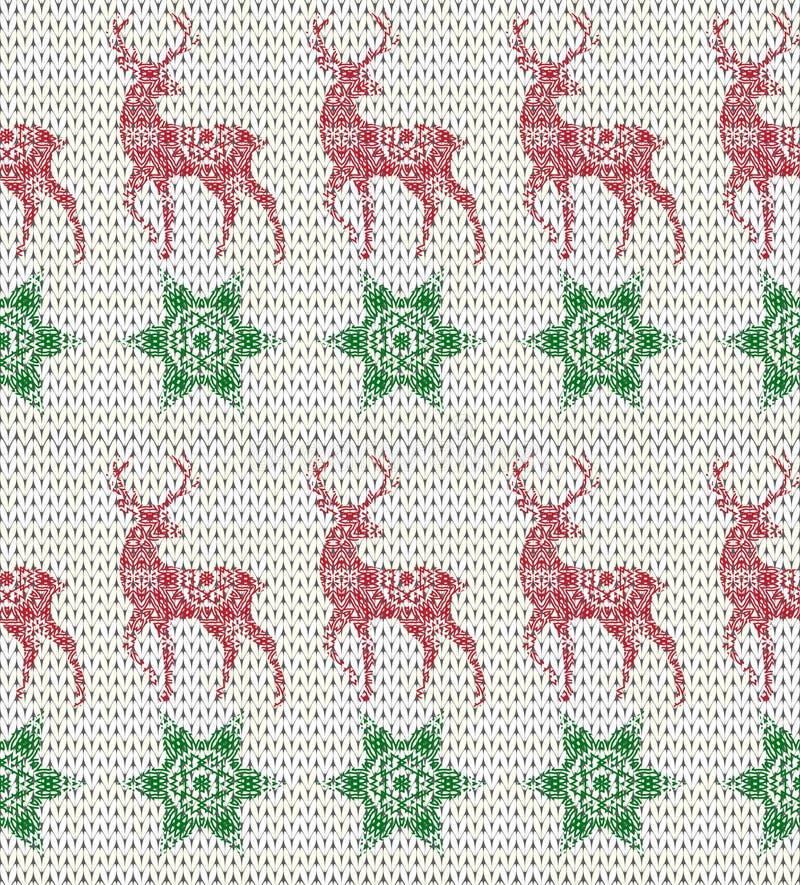 Teste padrão de confecção de malhas sem emenda do feriado de inverno com cervos e flocos de neve ilustração royalty free
