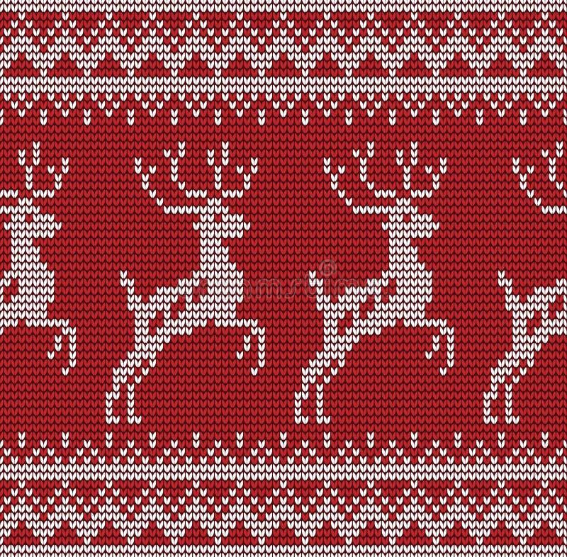 Teste padrão de confecção de malhas dos cervos sem emenda ilustração stock