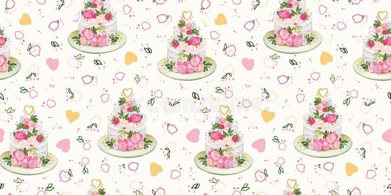Teste padrão de creme com bolo e flores de casamento ilustração do vetor