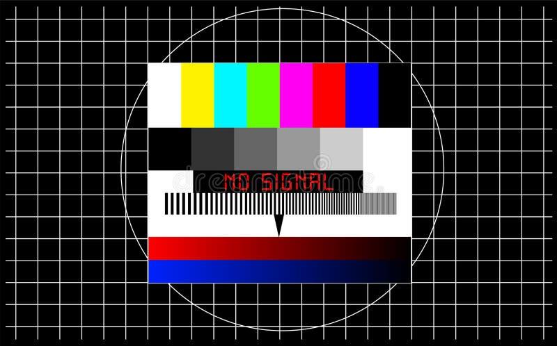 Teste padrão de teste da tevê com subtítulo 'nenhum sinal ', autônomo, distúrbio, sinal do erro ilustração stock