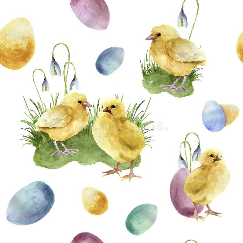 Teste padrão de easter da aquarela com pintainho Ornamento do feriado com os pássaros, os ovos coloridos e os snowdrops isolados  ilustração do vetor