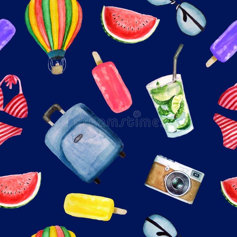 Teste padrão de elementos da aquarela do verão: mala de viagem, vidros, balão, roupa de banho, câmera, gelado, cocktail do mojito ilustração royalty free