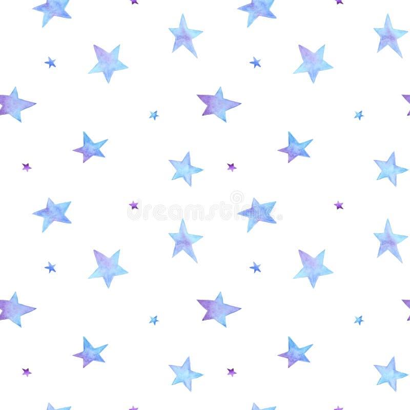 Teste padrão de estrelas azuis da aquarela imagem de stock royalty free