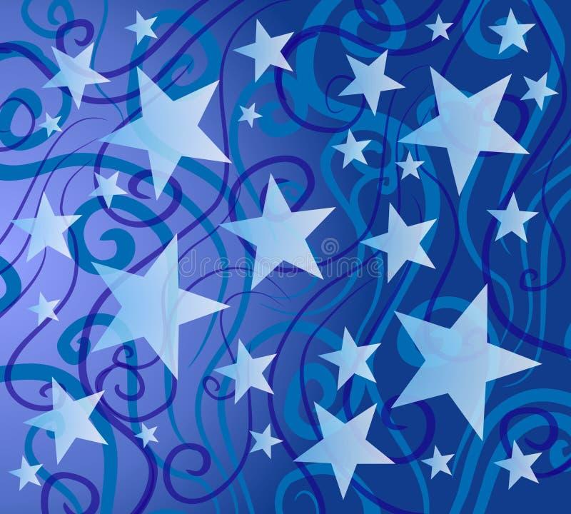 Teste padrão de estrelas colorido azul ilustração do vetor