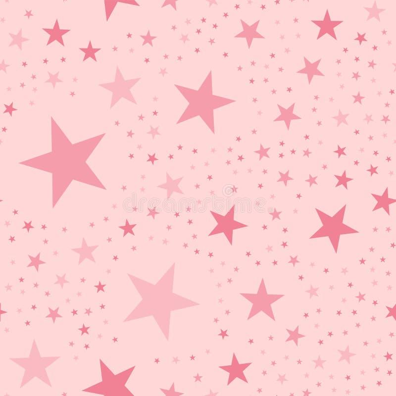 Teste padrão de estrelas cor-de-rosa na luz - fundo cor-de-rosa ilustração royalty free