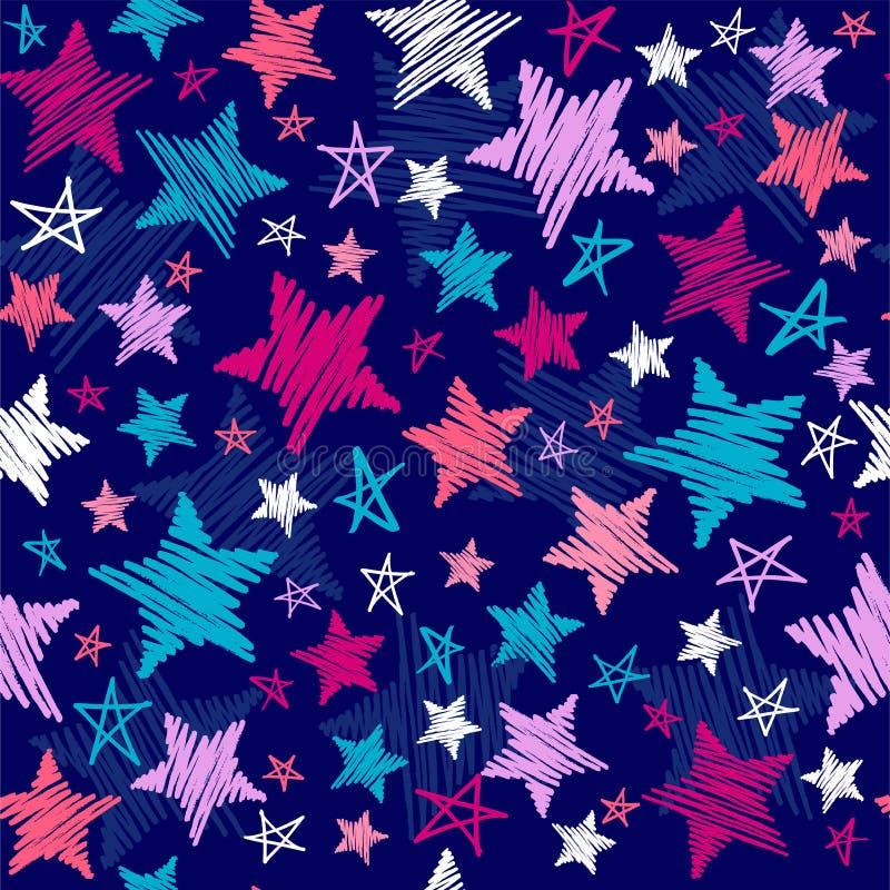 Teste padrão de estrelas esboçado ilustração stock