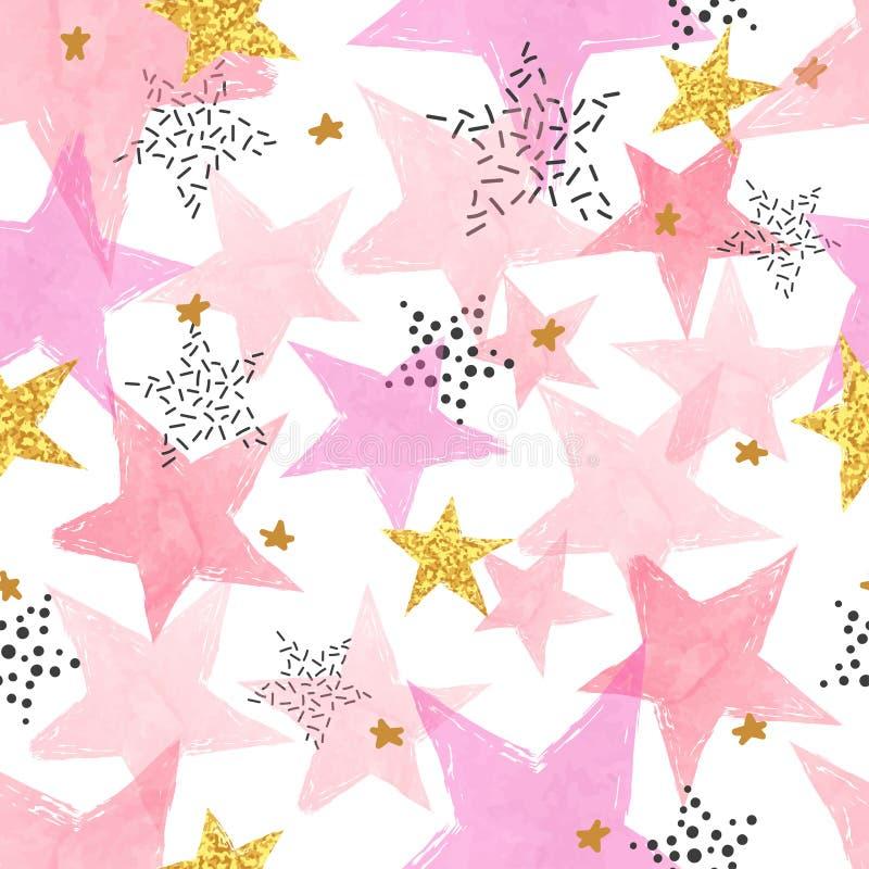 Teste padrão de estrelas sem emenda Fundo do vetor com as estrelas cor-de-rosa e douradas ilustração stock