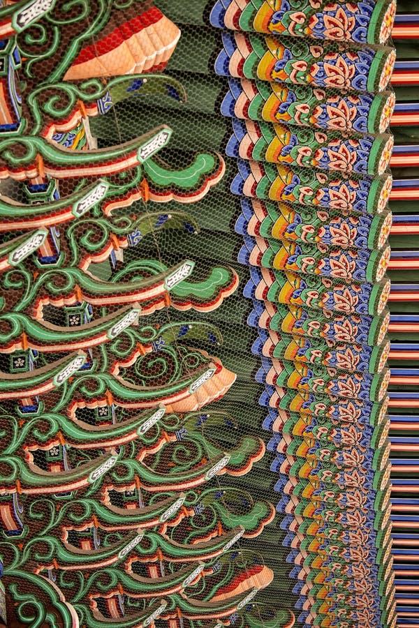 Teste padrão de feixes de telhado coreanos fotos de stock