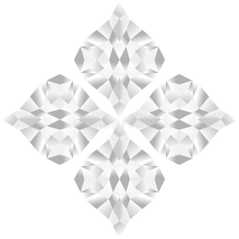 Teste padrão de flor abstrato de cores preto e branco do inclinação, isolado no fundo transparente branco Vector a ilustração, EP ilustração stock