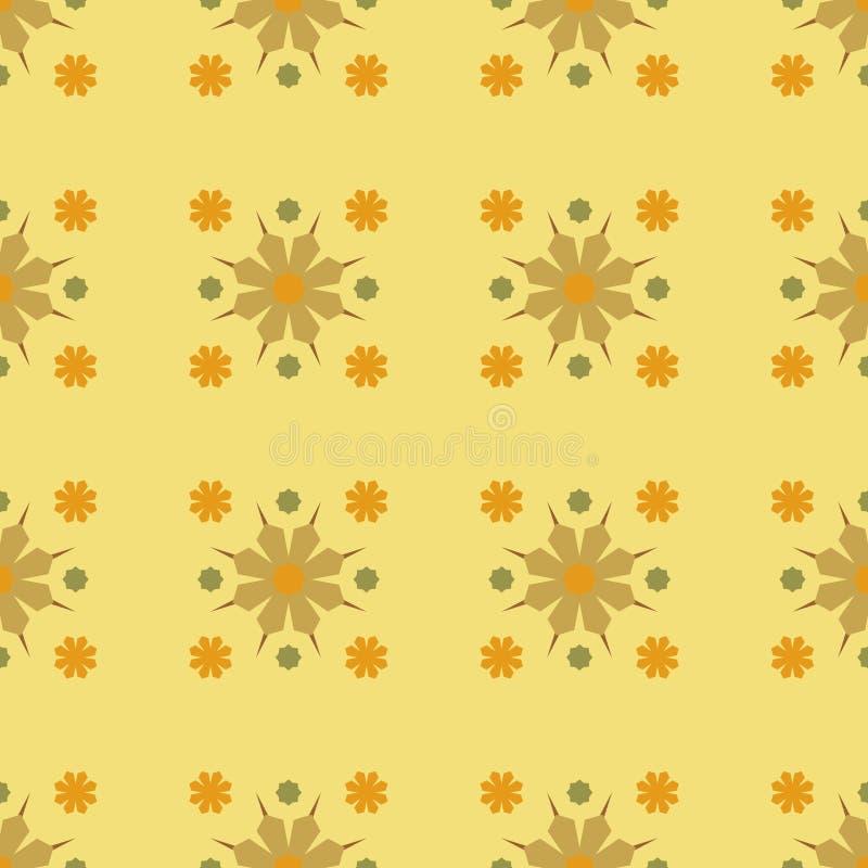 Teste padrão de flor amarelo geométrico de Seamles do vetor ilustração royalty free