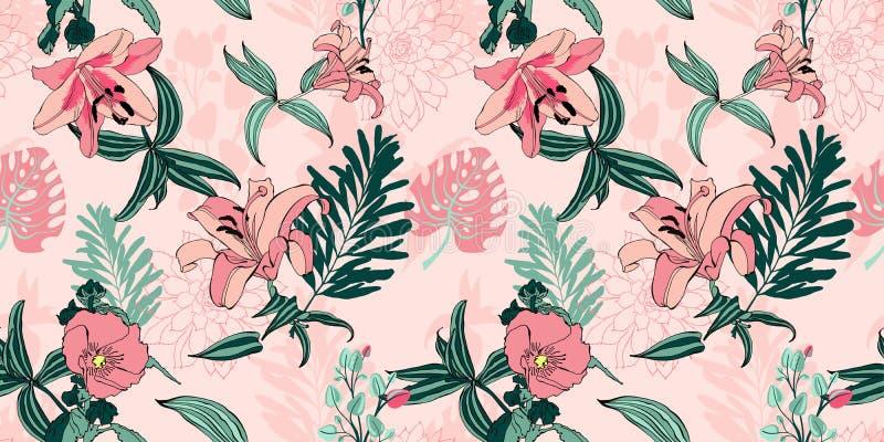 Teste padrão de flor artístico sem emenda na moda original, trop bonito ilustração stock