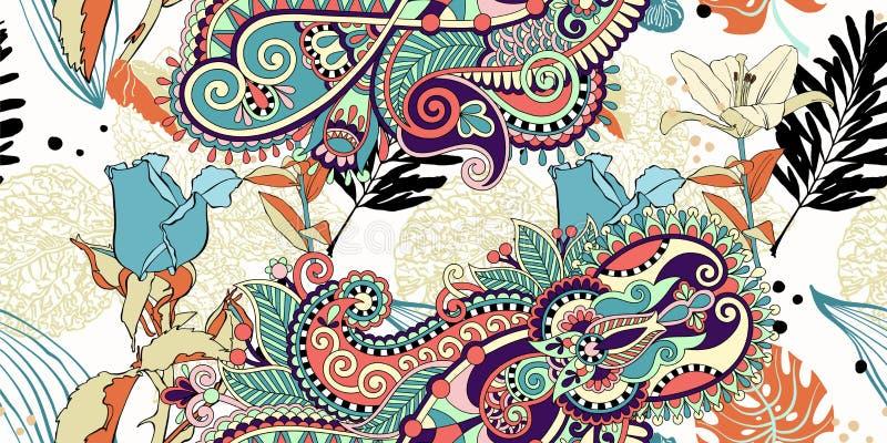 Teste padrão de flor artístico sem emenda na moda original, trop bonito ilustração do vetor
