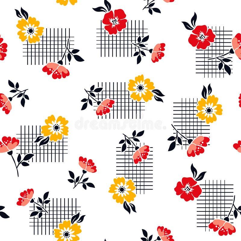 Teste padrão de flor bonito no fundo geométrico fotografia de stock royalty free