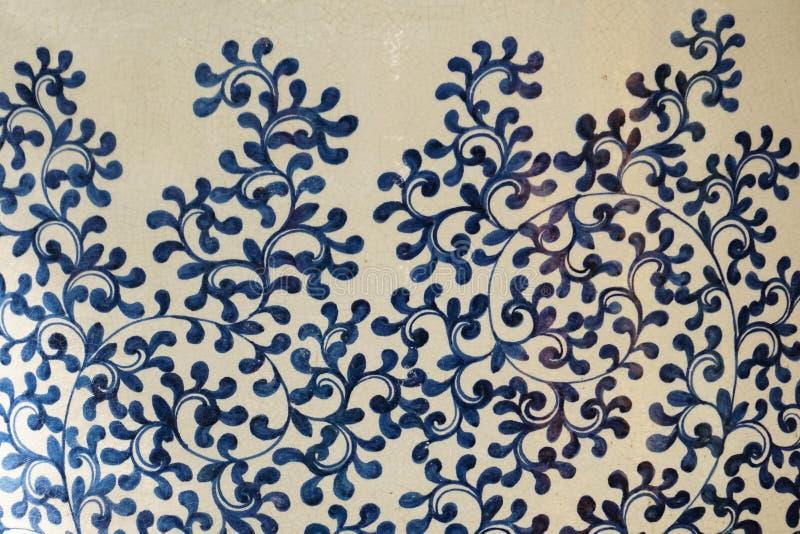 Teste padrão de flor cerâmico tradicional chinês fotografia de stock