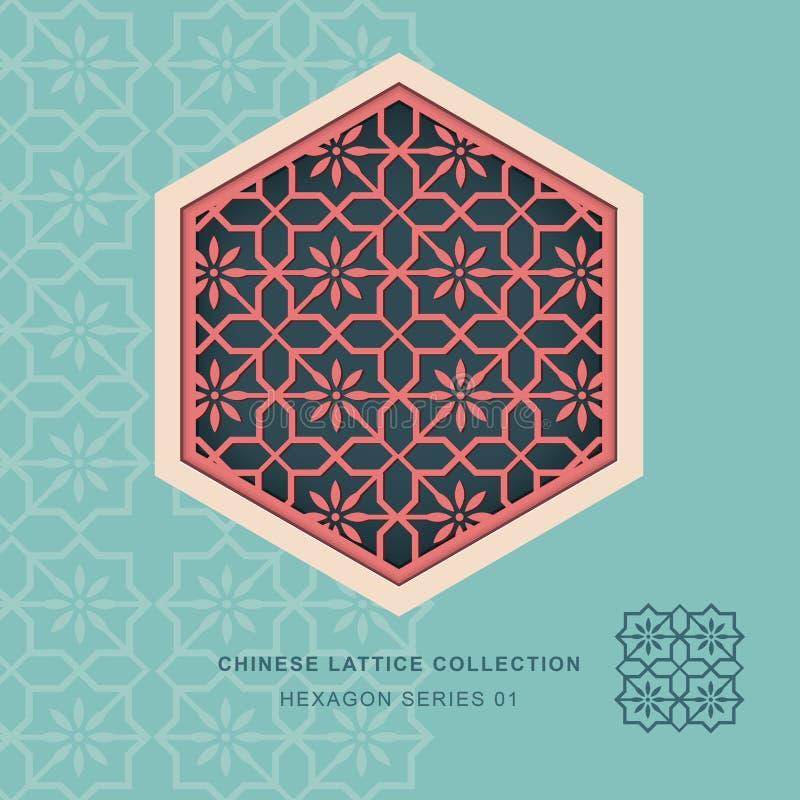 Teste padrão de flor chinês da série 01 do quadro do hexágono da estrutura do tracery da janela ilustração do vetor