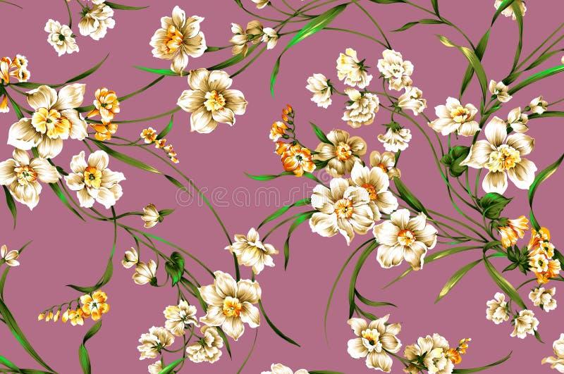Teste padrão de flor clássico do vintage do papel de parede no fundo roxo fotos de stock royalty free