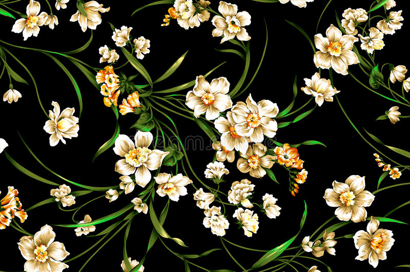 Teste padrão de flor clássico do vintage do papel de parede no fundo roxo foto de stock