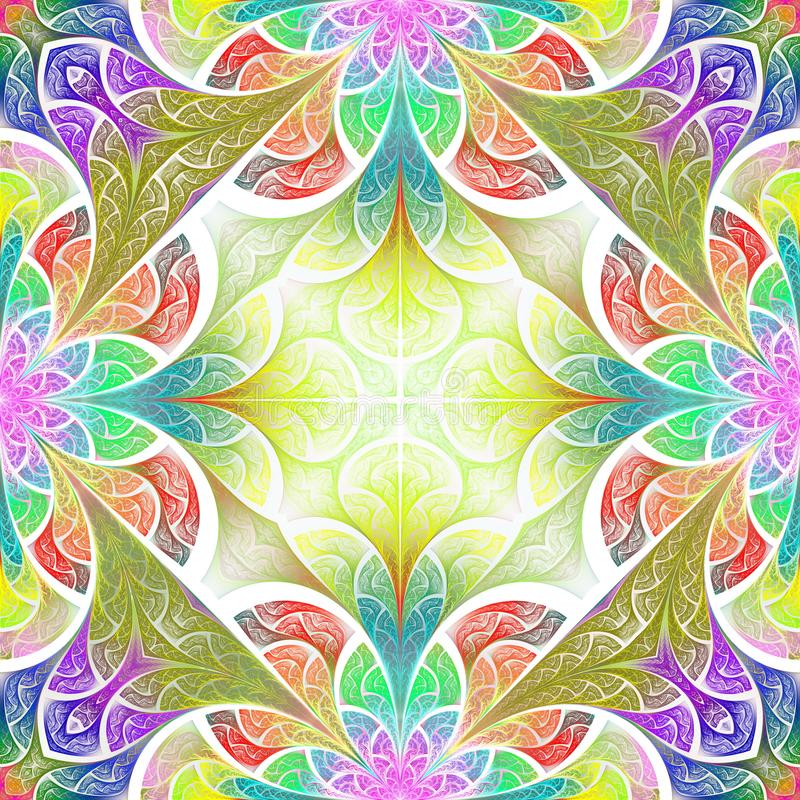 Teste padrão de flor colorido no estilo da janela de vidro colorido Você c ilustração stock