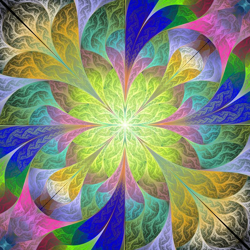 Teste padrão de flor colorido no estilo do mosaico Você pode usá-lo para convites, tampas do caderno, caixas do telefone, cartão, ilustração stock