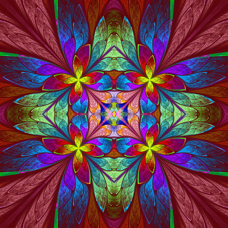 Teste padrão de flor colorido simétrico na janela de vidro colorido ilustração royalty free