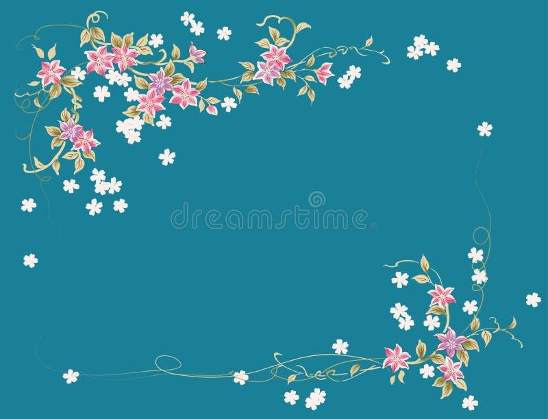 Teste padrão de flor cor-de-rosa no fundo azul ilustração royalty free