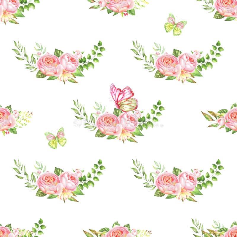 Teste padrão de flor da aquarela ilustração do vetor