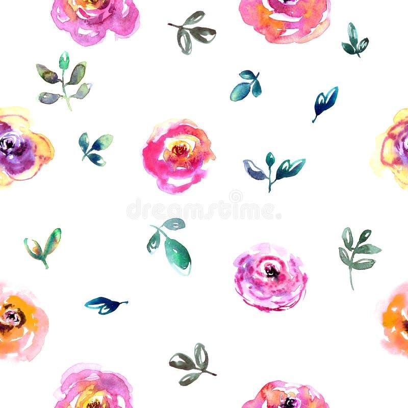 Teste padrão de flor da aquarela ilustração royalty free