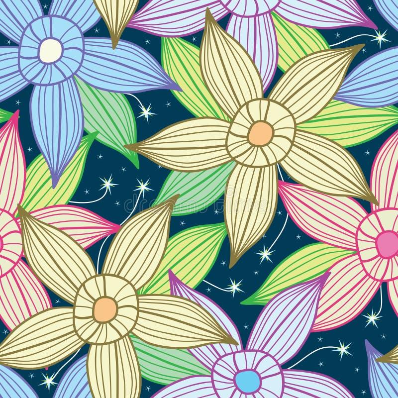 Teste padrão de flor da estrela do céu nocturno ilustração stock