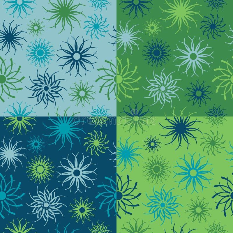 Teste padrão de flor da faísca nos azuis e nos verdes ilustração do vetor