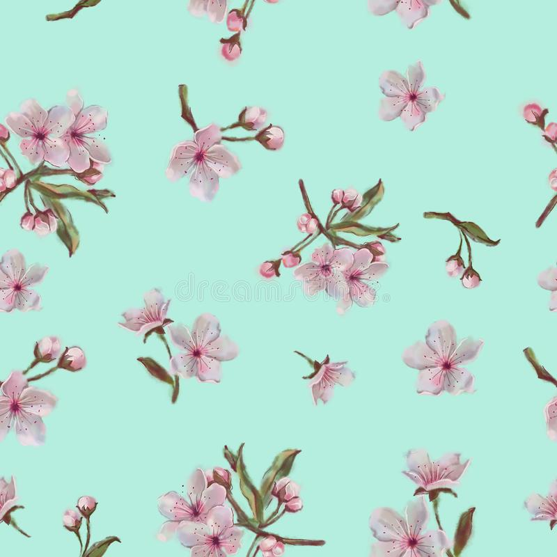 Teste padrão de flor da mola Fundo da hortelã Para o fundo, a cópia, o projeto e a matéria têxtil fotos de stock