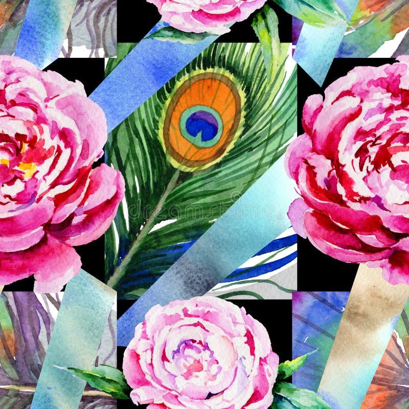 Teste padrão de flor da peônia do Wildflower em um estilo da aquarela ilustração do vetor