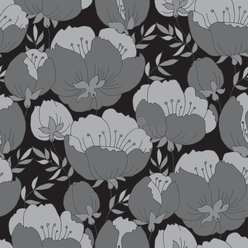 Teste padrão de flor da rosa do cinza do conceito Flor da árvore da mola ilustração stock