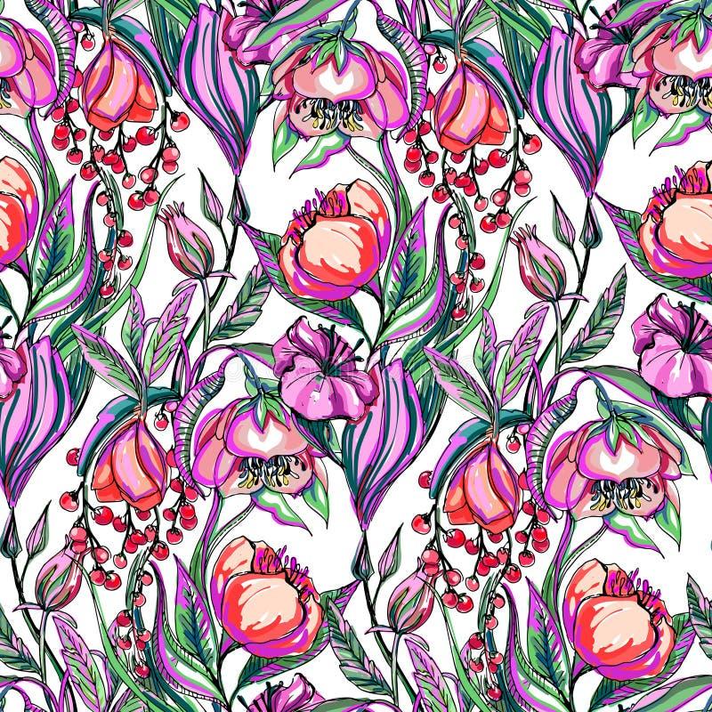 Teste padrão de flor do vetor da arte finala ilustração stock