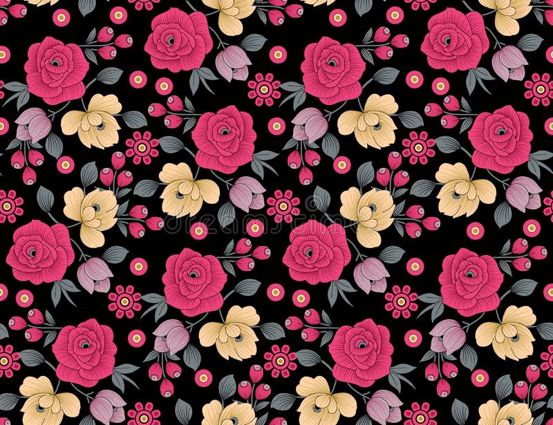 Teste padr?o de flor floral sem emenda com fundo preto ilustração stock
