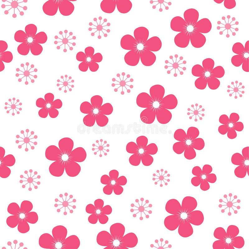 Teste padrão de flor Fundo vermelho do vetor da flor ilustração stock