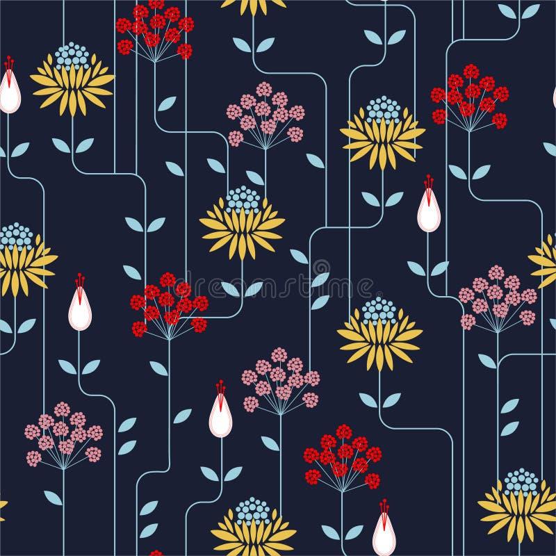 Teste padrão de flor geométrico retro colorido na repetição Fundo sem emenda, estilo do vintage Projeto para a forma em telas, ma ilustração royalty free