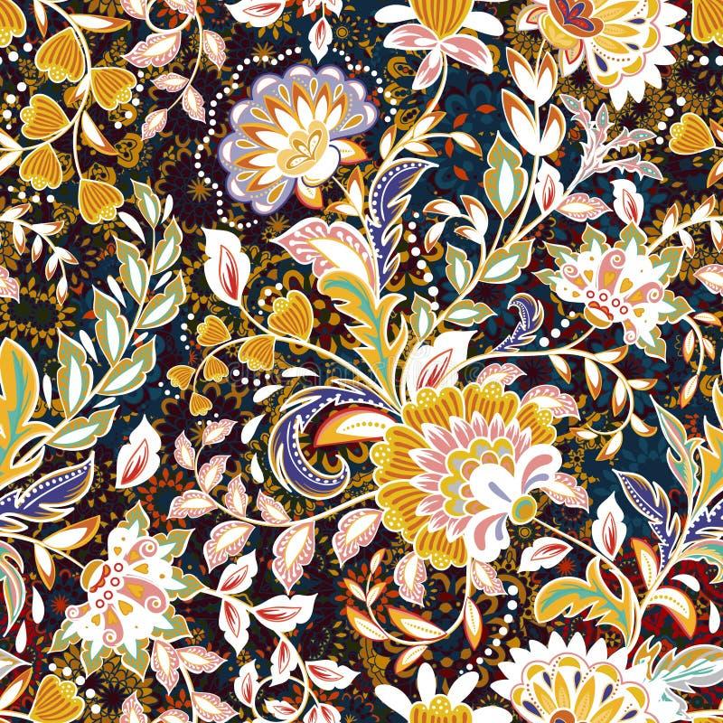 Teste padrão de flor incrível da cor Fundo floral brilhante colorido Teste padrão sem emenda do vintage no estilo de provence ilustração do vetor