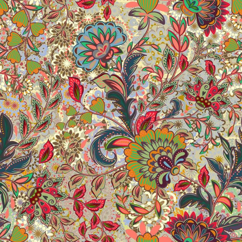 Teste padrão de flor incrível da cor Fundo floral brilhante colorido Teste padrão sem emenda do vintage no estilo de provence ilustração stock