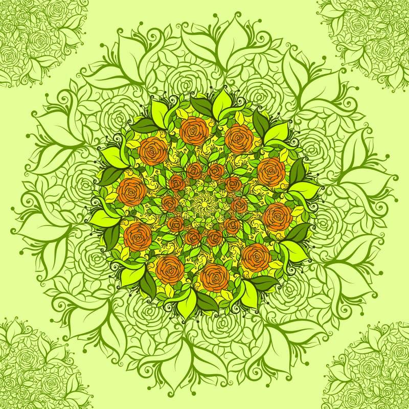 Teste padrão de flor intrincado do vetor Vector o teste padrão sem emenda floral no estilo do boho da hippie ilustração royalty free