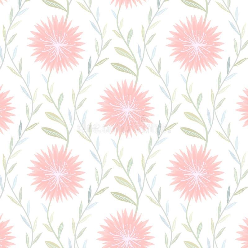 Teste padrão de flor macio no fundo branco ilustração stock