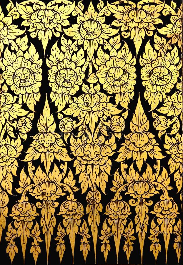 Teste padrão de flor na arte tailandesa tradicional do estilo imagens de stock