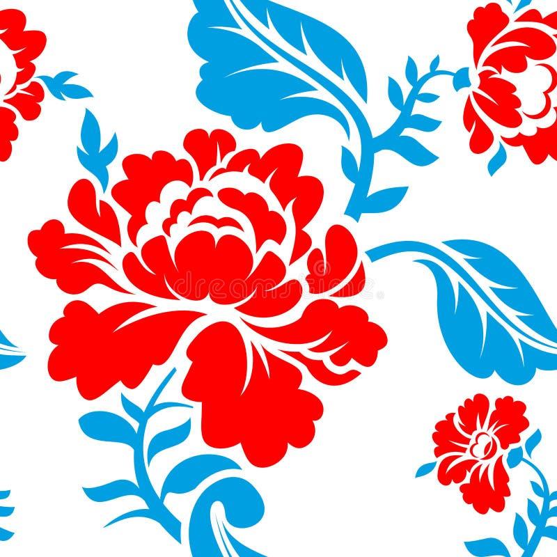 Teste padrão de flor nacional do russo Cores da bandeira de Rússia tricolor ilustração do vetor