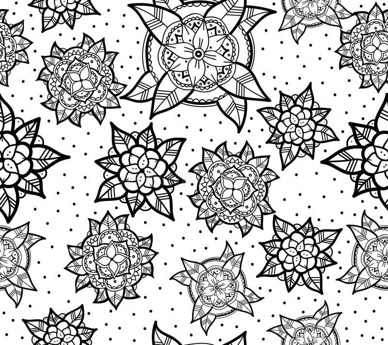 Teste padrão de flor preto e branco sem emenda ilustração royalty free