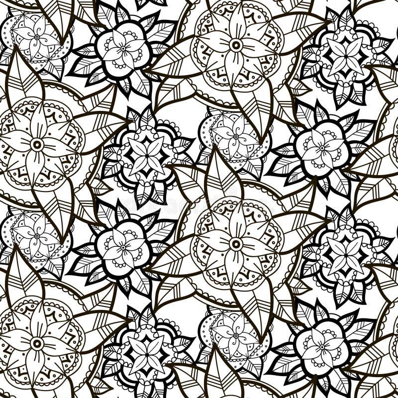 Teste padrão de flor preto e branco sem emenda ilustração stock