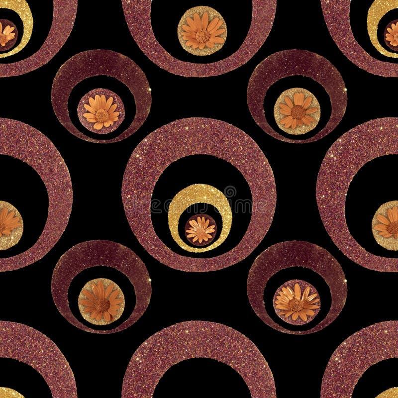 Teste padrão de flor retro do brilho do ouro ilustração do vetor