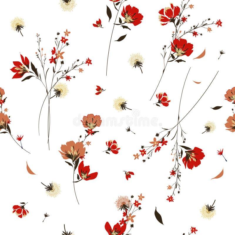 Teste padrão de flor selvagem retro nos muitos tipo das flores botanical ilustração royalty free