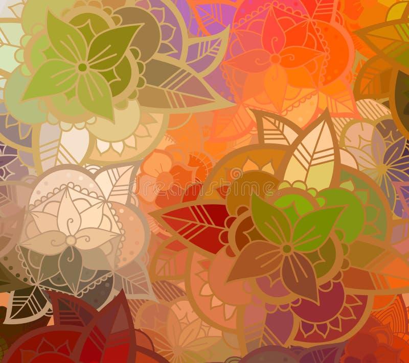 Teste padrão de flor sem emenda da cor ilustração stock
