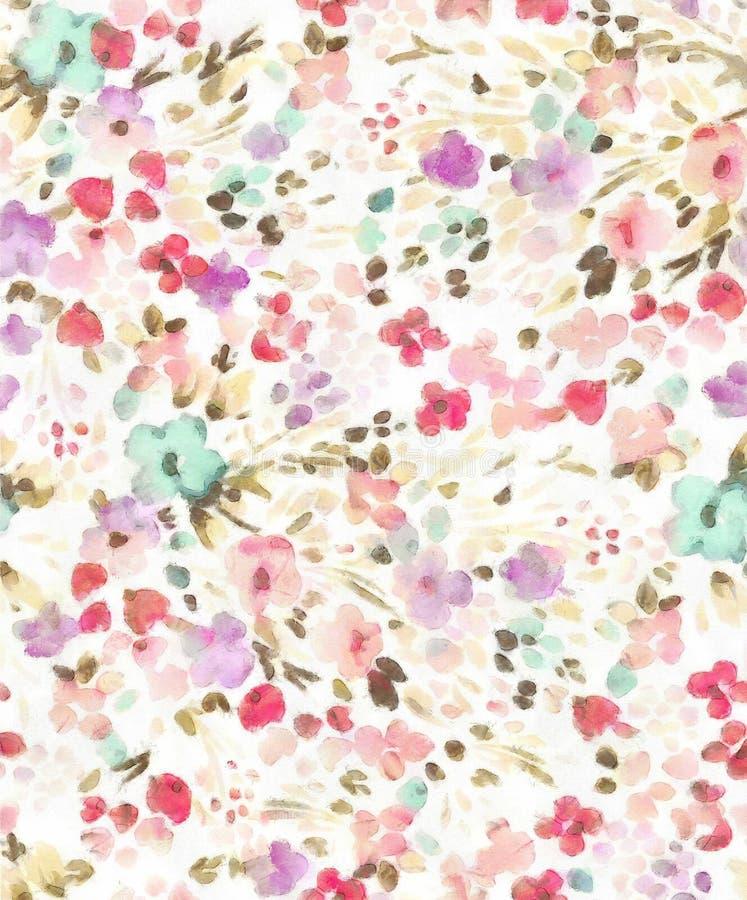 Teste padrão de flor sem emenda da ilustração da aquarela ilustração do vetor