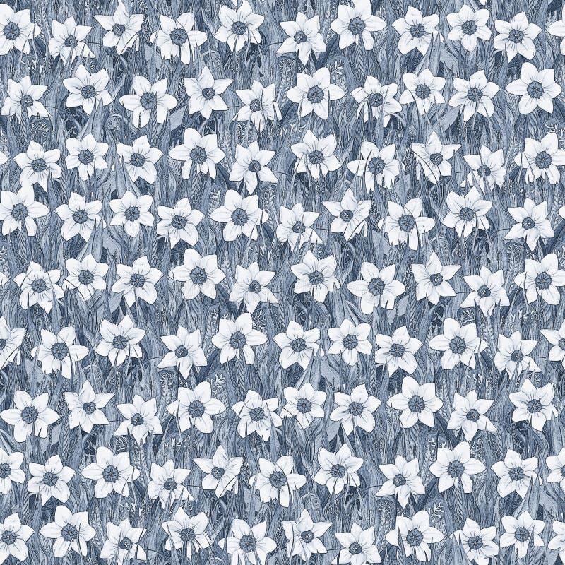 Teste padrão de flor sem emenda do narciso branco na grama Fundo ilustração royalty free